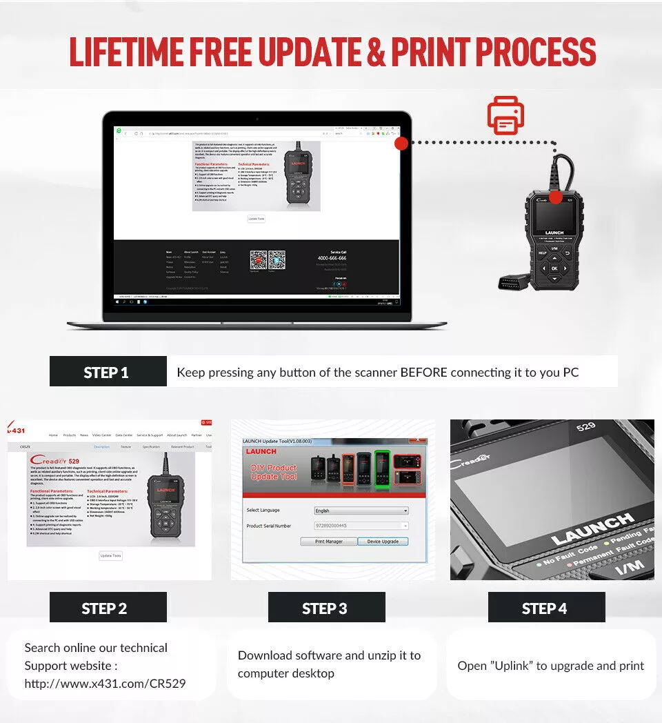 Lifetime free update Launch Creader 529